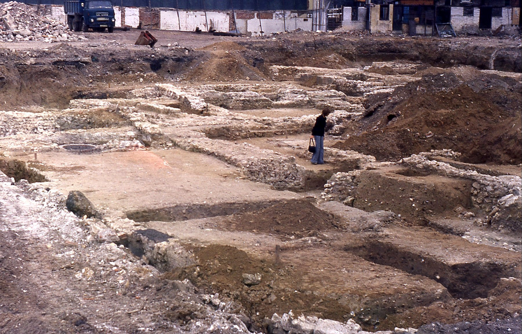 My wife examining the excavations